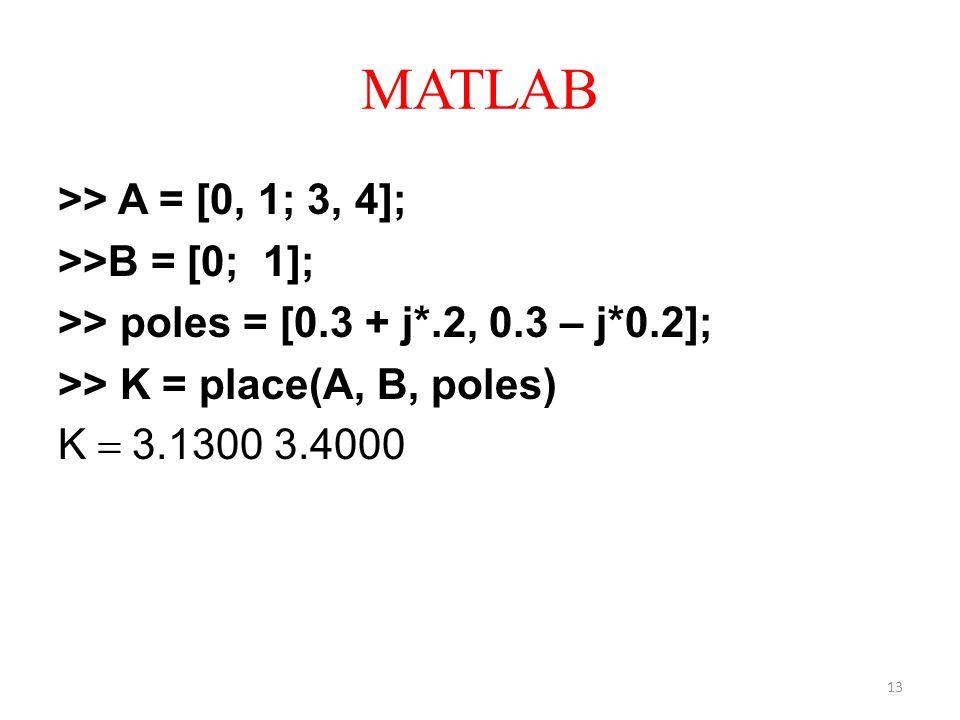 MATLAB >> A = [0, 1; 3, 4]; >>B = [0; 1]; >> poles = [0.3 + j*.2, 0.3 – j*0.2]; >> K = place(A, B, poles) K = 3.1300 3.4000